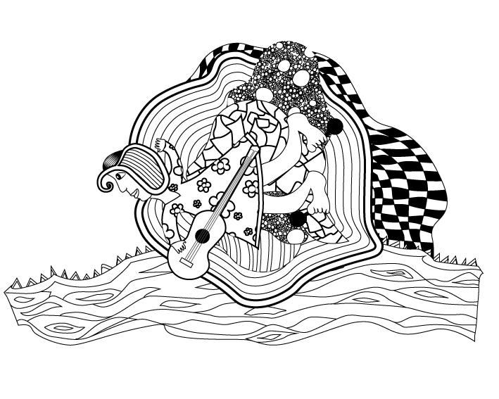 Illustration Allongé sur le divin